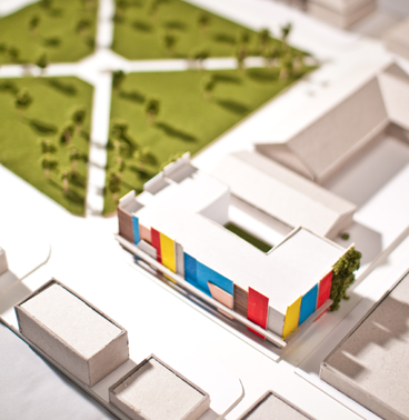 detail of a model showing a revitalized town square